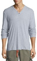 James Perse Melange Jersey Henley T-Shirt, Light Blue