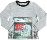 Little Marc Jacobs Garage Print Slub Cotton Jersey T-Shirt