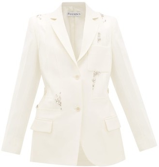 J.W.Anderson Crystal-embellished Panelled-wool Suit Jacket - Womens - Ivory