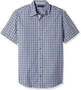 Nautica Men's Big and Tall Short Sleeve Check Plaid Button Down Shirt
