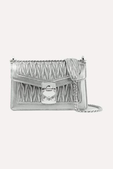 Miu Miu Metallic Matelassé Leather Shoulder Bag - Silver