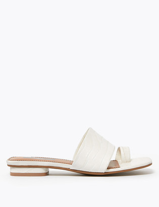 Marks and Spencer Leather Open Toe Loop Mules