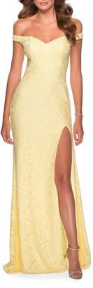La Femme Floral Lace Off the Shoulder Gown