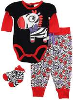 Duck Duck Goose Duck Goose Baby Girls Zebra Bodysuit Terry Pant and Socks 3Pc Gift Set