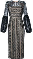 Rebecca Vallance Lou Lou lace gather sleeve dress