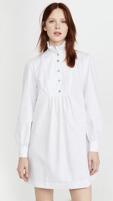 ALEXACHUNG Herringbone Shirt Dress with Frill