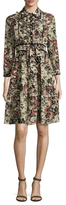 Gucci Printed Point Collar Silk Dress