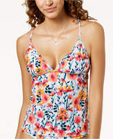 Hula Honey Juniors' In Such a Fleury Printed Cross-Back Tankini Top, Created for Macy's