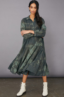 Emerald Tie-Dye Maxi Shirtdress By Samant Chauhan in Green Size XS