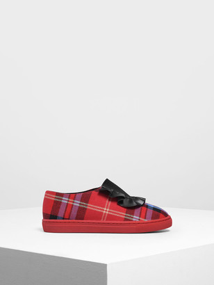 Charles & Keith Girls' Frill Trim Slip-On Sneakers