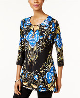 JM Collection Petite Printed Keyhole Top, Only at Macy's