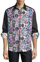 Robert Graham Ringo Starr Capsule Collection Peace Sport Short, Black Pattern