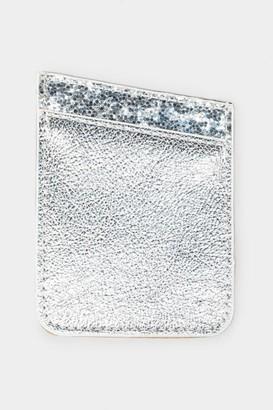 francesca's Silver Glitter Cell Phone Wallet Pocket - Silver