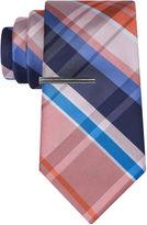 Jf J.Ferrar JF Navy Open Plaid Tie With Tie Bar