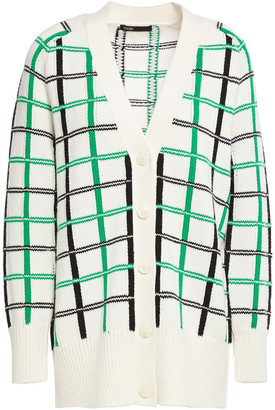 Maje Maya Checked Jacquard-knit Cardigan