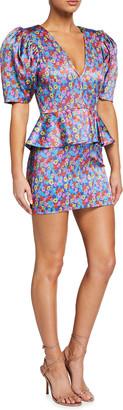 Rotate by Birger Christensen Mindy Puff-Sleeve Peplum Mini Dress