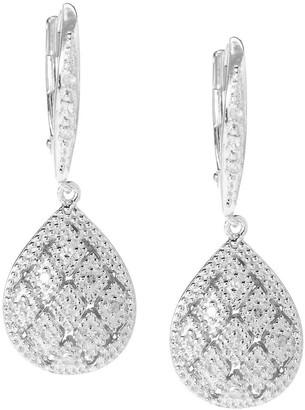 V3 Jewelry Sterling Silver 0.18ct TDW Round White Diamond Teardrop Earrings