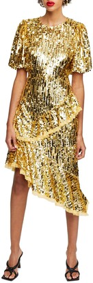 Topshop Sequin Ruffle Dress