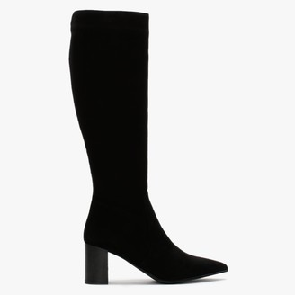 Lamica Black Suede Pointed Toe Knee Boots