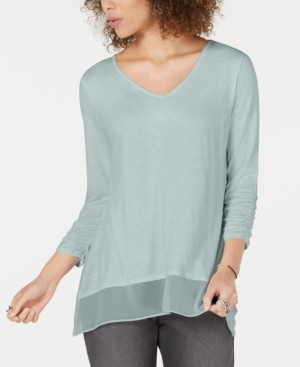 Style&Co. Style & Co V-Neck Chiffon-Hem Top, Created for Macy's