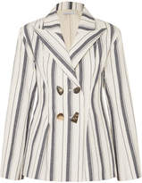 REJINA PYO - Nicole Double-breasted Striped Cotton-chambray Blazer - Blue