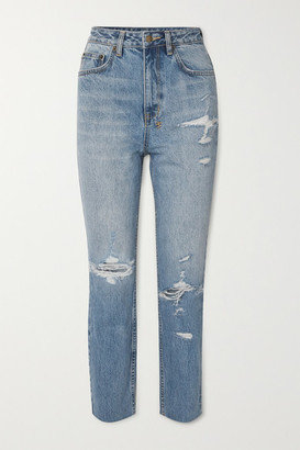 Ksubi Chlo Wasted Distressed High-rise Straight-leg Jeans - Mid denim