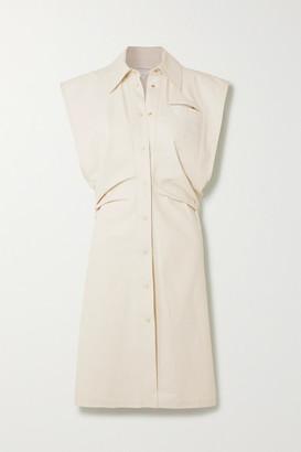 Bottega Veneta Coated Cotton-blend Midi Dress - Beige