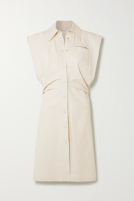 Bottega Veneta Coated Cotton-blend Shirt Dress - Beige
