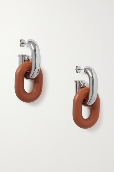 Paco Rabanne Xl Link Silver-tone And Leather Earrings - one size