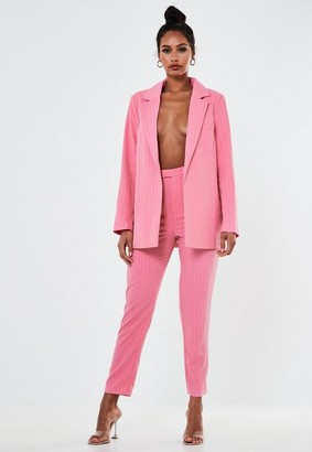 Missguided Pink Co Ord Pinstripe Cigarette Pants