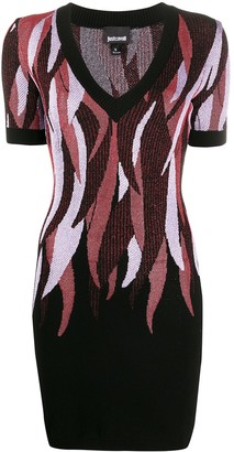 Just Cavalli Feather-Print Knitted Dress
