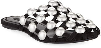 Alexander Wang Amelia Studded Caged Suede Mule Flat