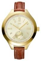 JBW Women's J6309B Aria Japanese Movement Genuine Leather Real Diamond Watch - Gold