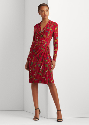 Ralph Lauren Pleated Paisley Jersey Dress