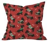 "DENY Designs Red Animal Pimlada Phuapradit Christmas Canine Scottie Throw Pillow (16""x16"