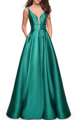 La Femme Plunge-Neck Sleeveless Mikado Ball Gown