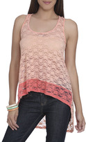 Wet Seal WetSeal Blocked Lace High-Low Tank Coral