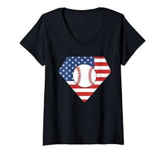 Womens 4th of July Patriotic Baseball American Flag V-Neck T-Shirt