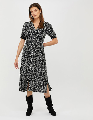Monsoon Jean Printed Dress in Sustainable Viscose Black