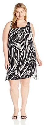 Notations Women's Plus Size PRT Woven Overlay W Printed Split Front Knit Under Lay Derss