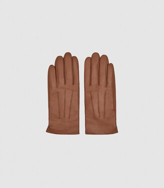 Reiss Gabrielle - Leather Gloves in Tan