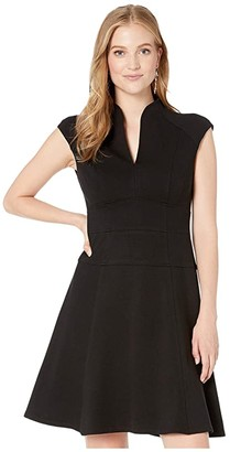 Nanette Lepore Solid Ponte Flare Dress (Black) Women's Dress