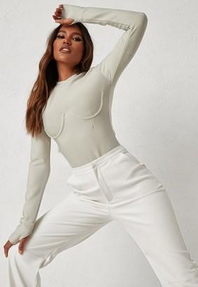 Missguided Michelle x Stone High Neck Bandage Bodysuit