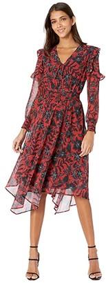 Sam Edelman Long Sleeve Smocked Hanky Hem (Red/Black) Women's Dress