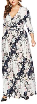 Belle De Jour Belle de Jour Women's Maxi Dresses white - White Floral Surplice Maxi Dress - Women & Plus