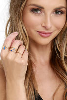 LuLu*s Let Your Heart Decide Gold And Blue Ring Set