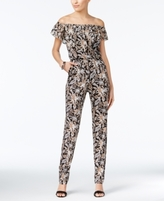 NY Collection Petite Printed Convertible Off-The-Shoulder Jumpsuit