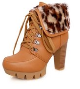 BalaMasa Womens High Heels Ankle High Solid PU Autumn And Winter Boots