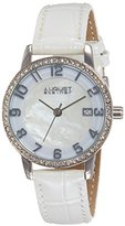 August Steiner Women's AS8056WT Mother-of-Pearl Silver-Tone Watch with White Leather Strap