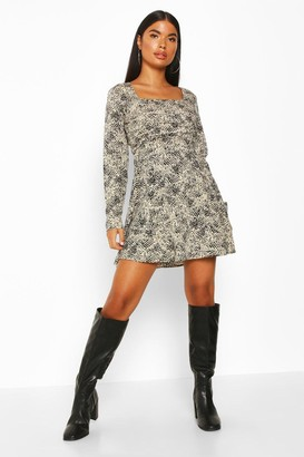 boohoo Petite Woven Animal Print Square Neck Shift Dress
